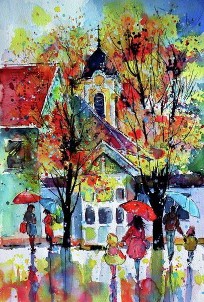 Wall Art - Painting - Autumn In My Little Town by Kovacs Anna Brigitta
