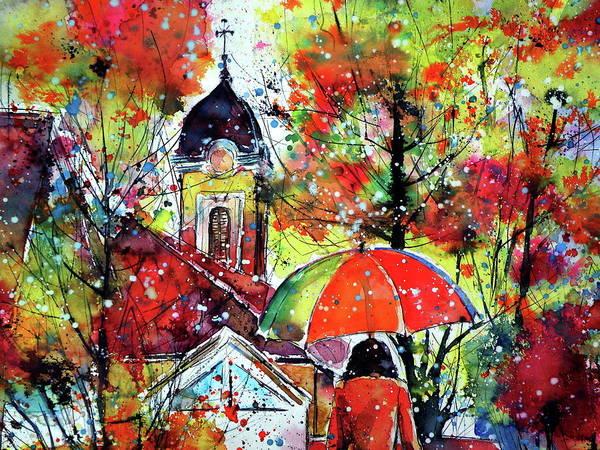 Wall Art - Painting - Autumn In My Town II Cd by Kovacs Anna Brigitta