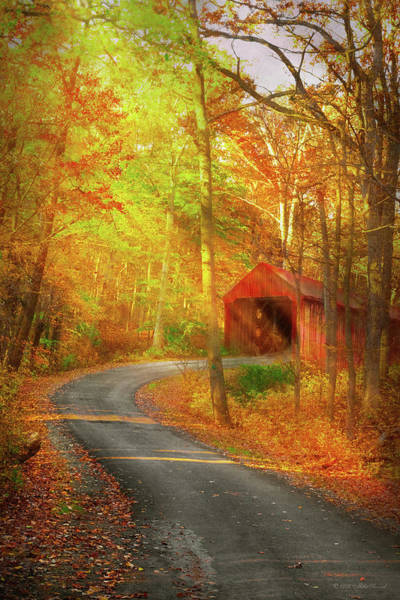 Photograph - Autumn - Just Past The Bend by Mike Savad