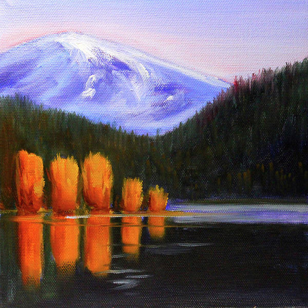 Painting - Autumn Lake Reflection by Nancy Merkle