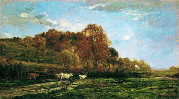 Wall Art - Painting - Autumn Landscape - Digital Remastered Edition by Charles-Francois Daubigny