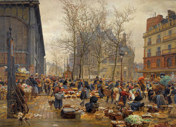 Mall Painting - Autumn Market At Les Halles by Francois-Marie Firmin-Girard