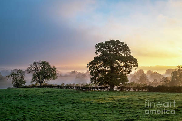 English Countryside Photograph - Autumn Mist And Fog Over Lower Slaughter Village by Tim Gainey