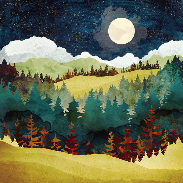 Wall Art - Digital Art - Autumn Moon by Spacefrog Designs