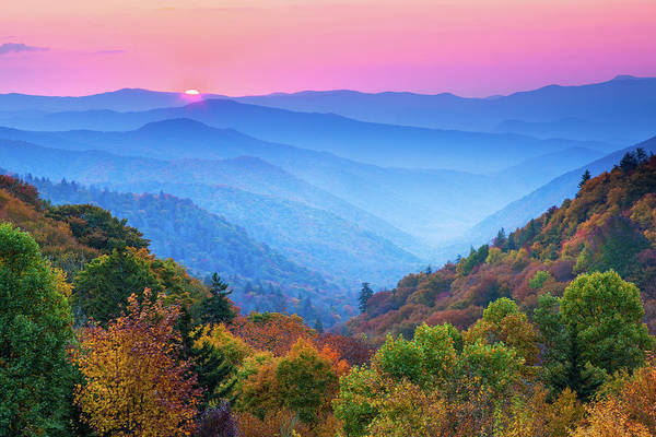 Southern Usa Photograph - Autumn Mountain Sunrise by Kencanning