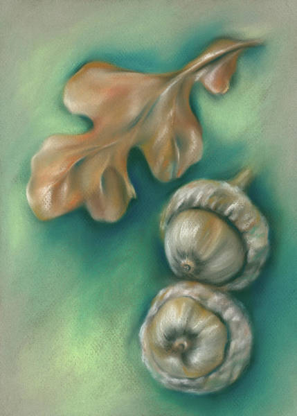 Pastel - Autumn Oak Leaf And Acorns by MM Anderson