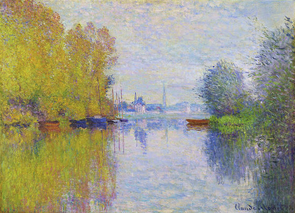 Riverbed Painting - Autumn On The Seine, Argenteuil - Digital Remastered Edition by Claude Monet