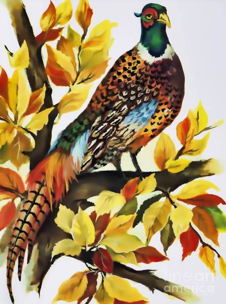 Digital Art - Autumn Pheasant by D Hackett