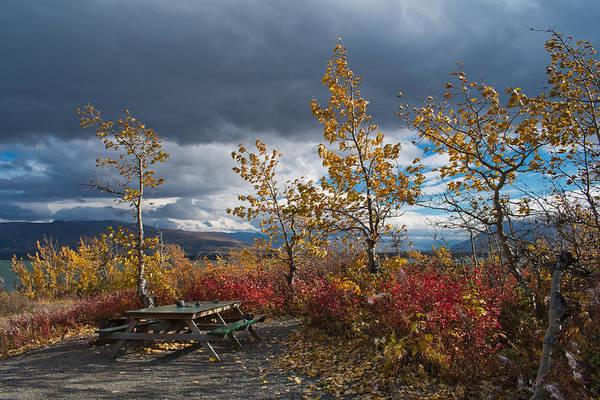 Haines Falls Photograph - Autumn Picnic Site - Dezadeash Lake - Canada by Cathy Mahnke