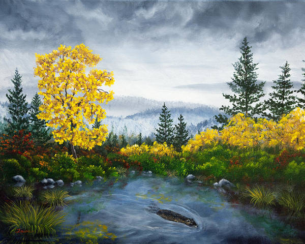 Wall Art - Painting - Autumn Pond by Laura Iverson