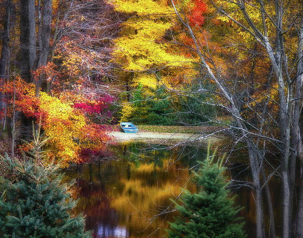 Wall Art - Photograph - Autumn Pond With Rowboat by Tom Mc Nemar