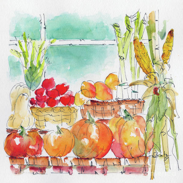 Painting - Autumn Produce On Display by Pat Katz