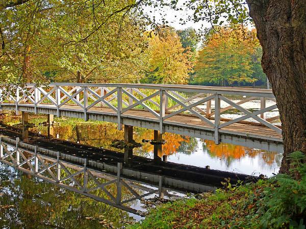 Photograph - Autumn Reflections Footbridge Over The Lake by Gill Billington