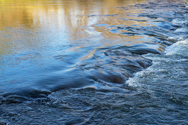 Photograph - Autumn River - Silky Flow In Heliodor Yellow And Sapphire Blue by Georgia Mizuleva