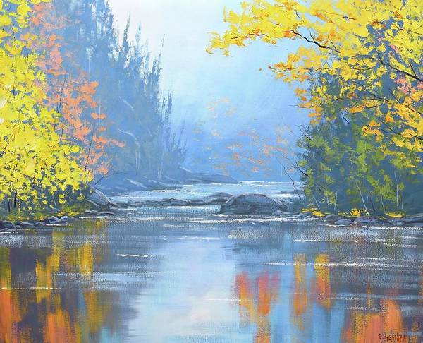 Amber Wall Art - Painting - Autumn River Trees by Graham Gercken