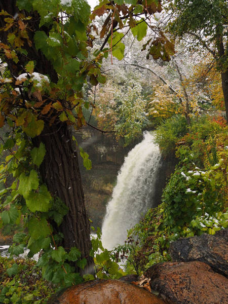 Photograph - Autumn Snow Minnehaha Falls by James Peterson