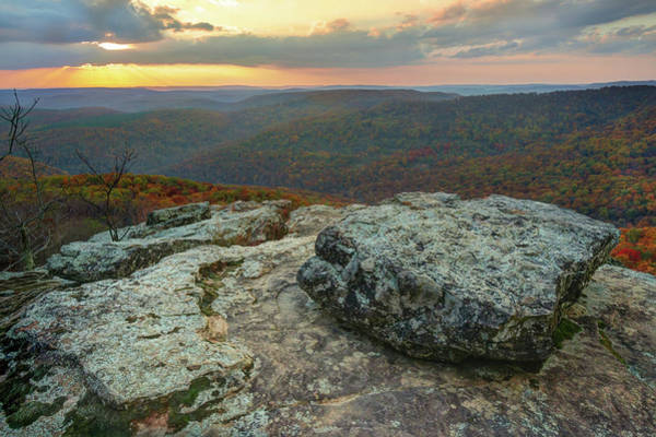 Photograph - Autumn Sunset At White Rock Mountain - Winslow Arkansas by Gregory Ballos