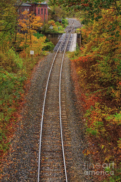 Photograph - Autumn Train Tracks Bethel Vermont by Edward Fielding