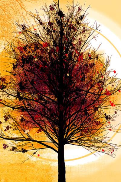 Flowering Trees Digital Art - Autumn Tree In Golds by Debra and Dave Vanderlaan