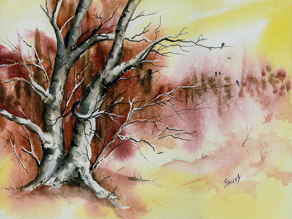 Painting - Autumn Tree With Birds by Sam Sidders