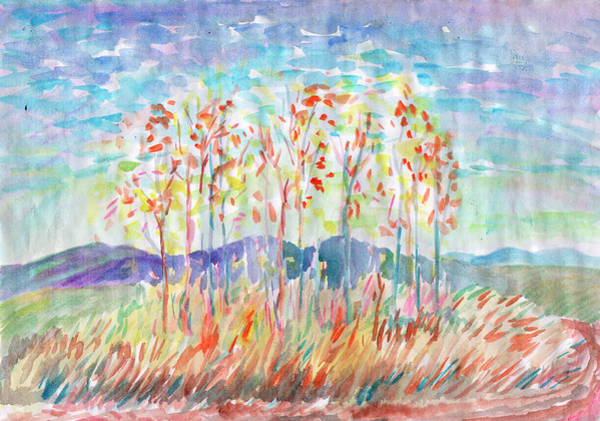 Painting - Autumn Trees In A Field In Clear Weather. by Irina Dobrotsvet