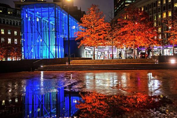 Photograph - Autumn Trees On City Hall Plaza Boston Ma by Toby McGuire