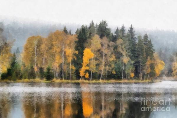 Woodland Mixed Media - Autumn Trees On The Bank Of Lake by Michal Boubin