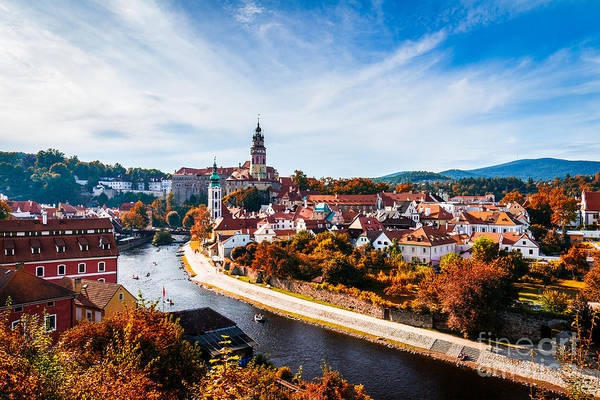 Wall Art - Photograph - Autumn View On The Cesky Krumlov And by Daliu