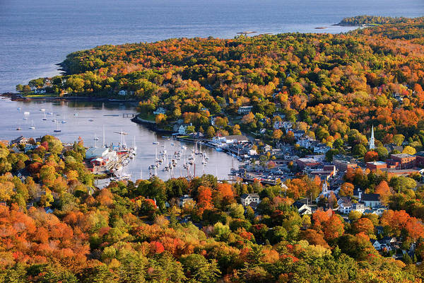 Harbor Photograph - Autumn View Over Small Harbor Town Of by Danita Delimont