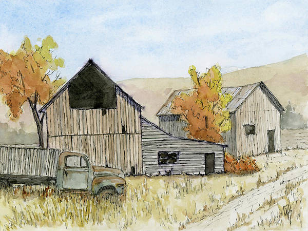 Painting - Autumn Vintage Farm by David King