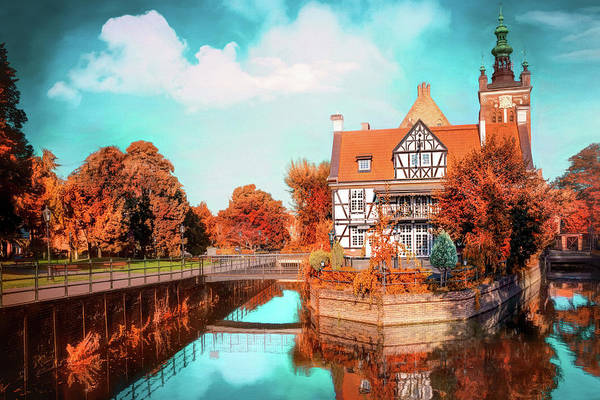 Wall Art - Photograph - Autumnal Canal Reflections Gdansk Poland  by Carol Japp