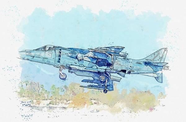 Painting - Av-8b Banked Take Off Watercolor By Ahmet Asar by Ahmet Asar