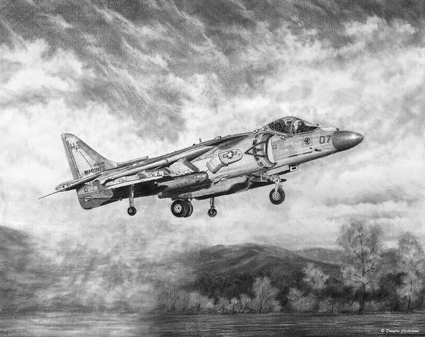 Drawing - Av-8b Harrier by Douglas Castleman