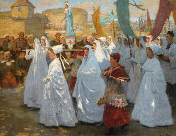 Wall Art - Painting - Ave Maria, Procession Religieuse In Bretagne by Aloysius O'Kelly