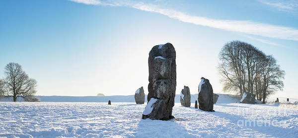 Photograph - Avebury Stone Circle In The Winter Snow Panoramic by Tim Gainey
