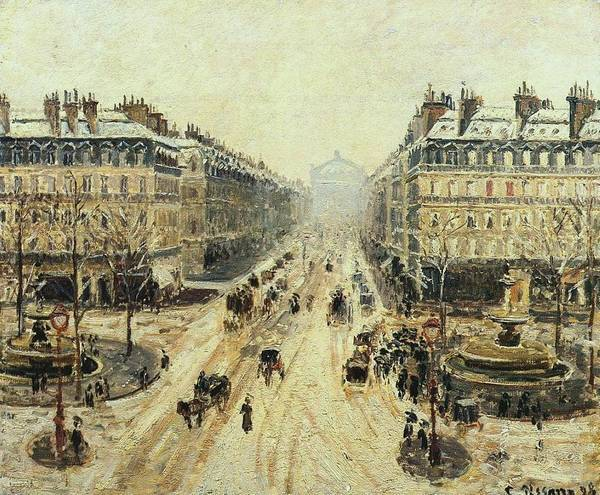 Wall Art - Painting - Avenue De L'opera - Snow Effect, 1898 by Camille Pissarro