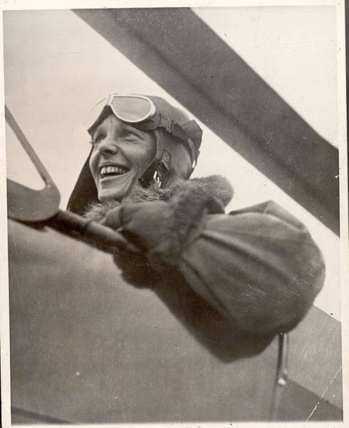 Wall Art - Photograph - Aviatrix Amelia Earhart In Cockpit Of by Time & Life Pictures