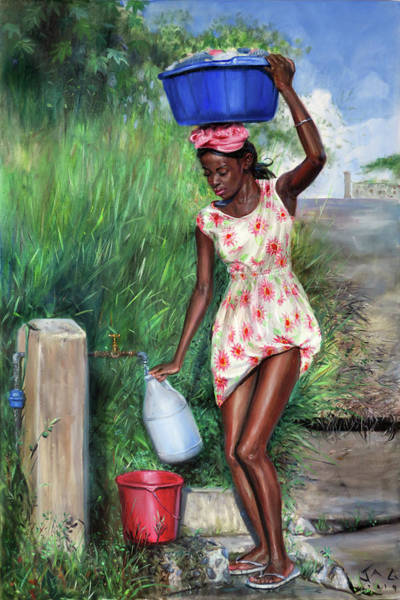 Saint Lucia Painting - Avon At Standpipe by Jonathan Guy-Gladding JAG