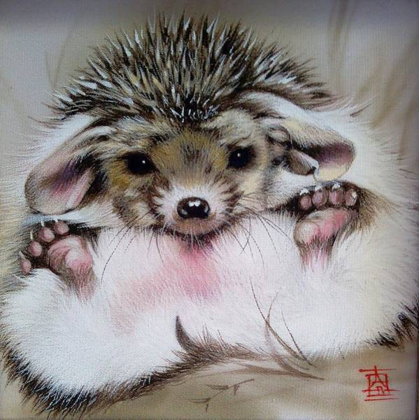 Painting - Awakened Baby Hedgehog by Alina Oseeva