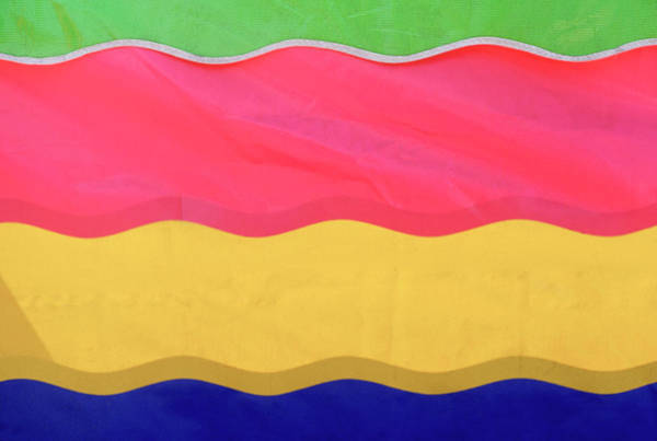Celebration Photograph - Awning Or Banner, Colorful Stripes At by Tsp Productions