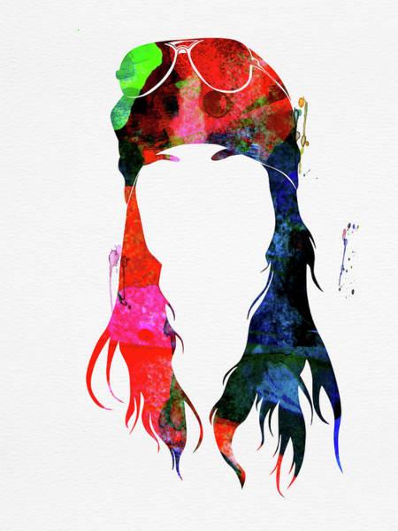 Guns And Roses Wall Art - Mixed Media - Axl Rose Watercolor by Naxart Studio