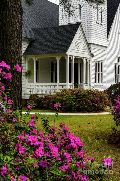 Photograph - Azaleas And Summerville Presbyterian Church by Thomas R Fletcher