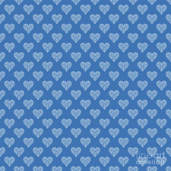 Digital Art - Azure Strong Blue Heart Lace Flowers Pattern by Sharon Mau