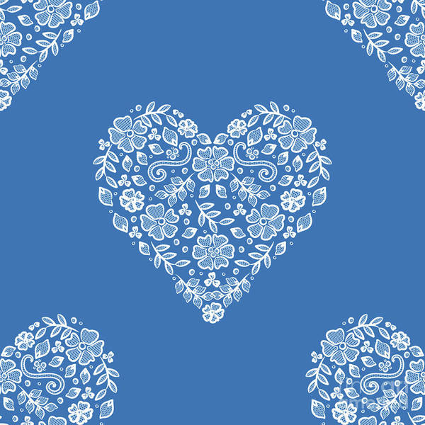 Photograph - Azure Strong Blue Heart Lace by Sharon Mau