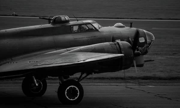 Photograph - B-17 Sally-b Taxiing Black And White  by Scott Lyons