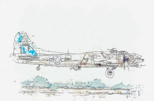 Painting - B-17g  Profile Watercolor By Ahmet Asar by Ahmet Asar