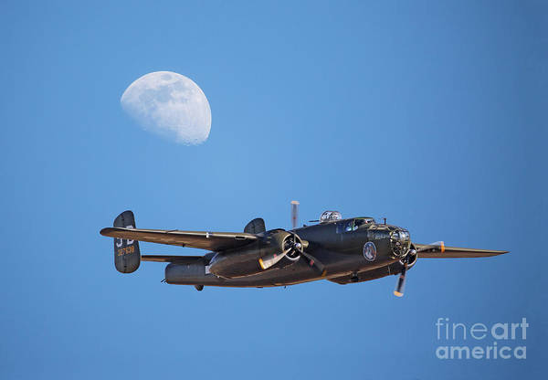 Photograph - B-25 Bomber And Gibbous Moon by Kevin McCarthy