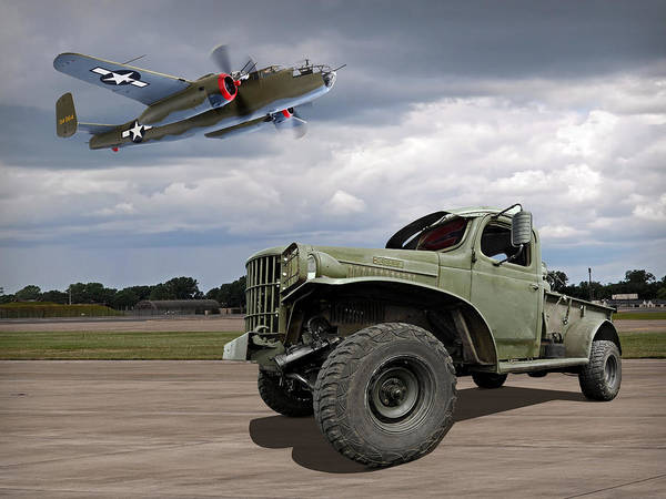 Wall Art - Photograph - B-25 Mitchell Bomber With Dodge Ww2 Military Truck by Gill Billington