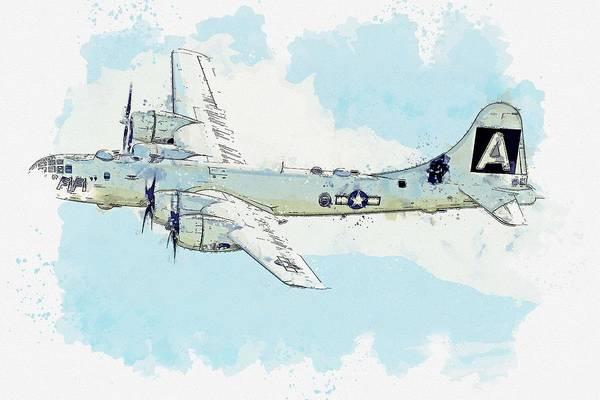 Painting - B-29 Watercolor By Ahmet Asar by Ahmet Asar