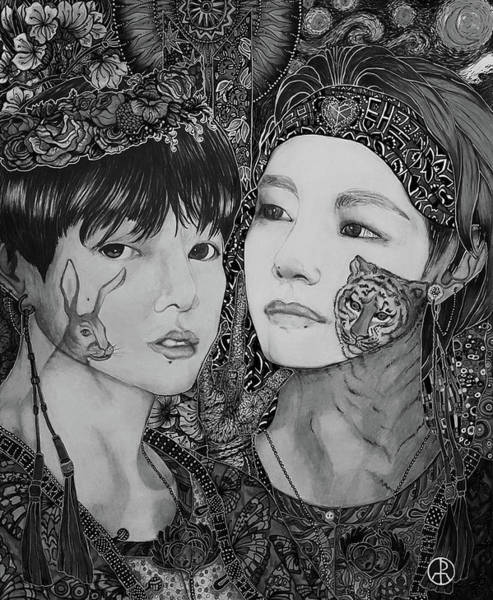 Painting - B T S Jungkook And Taehyung, Taekook Bw by Ellie Perla